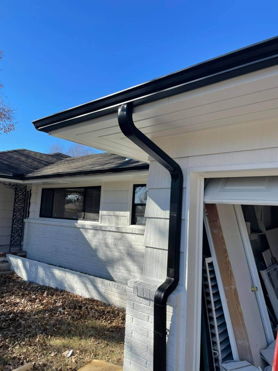 guttering over the garage of a home