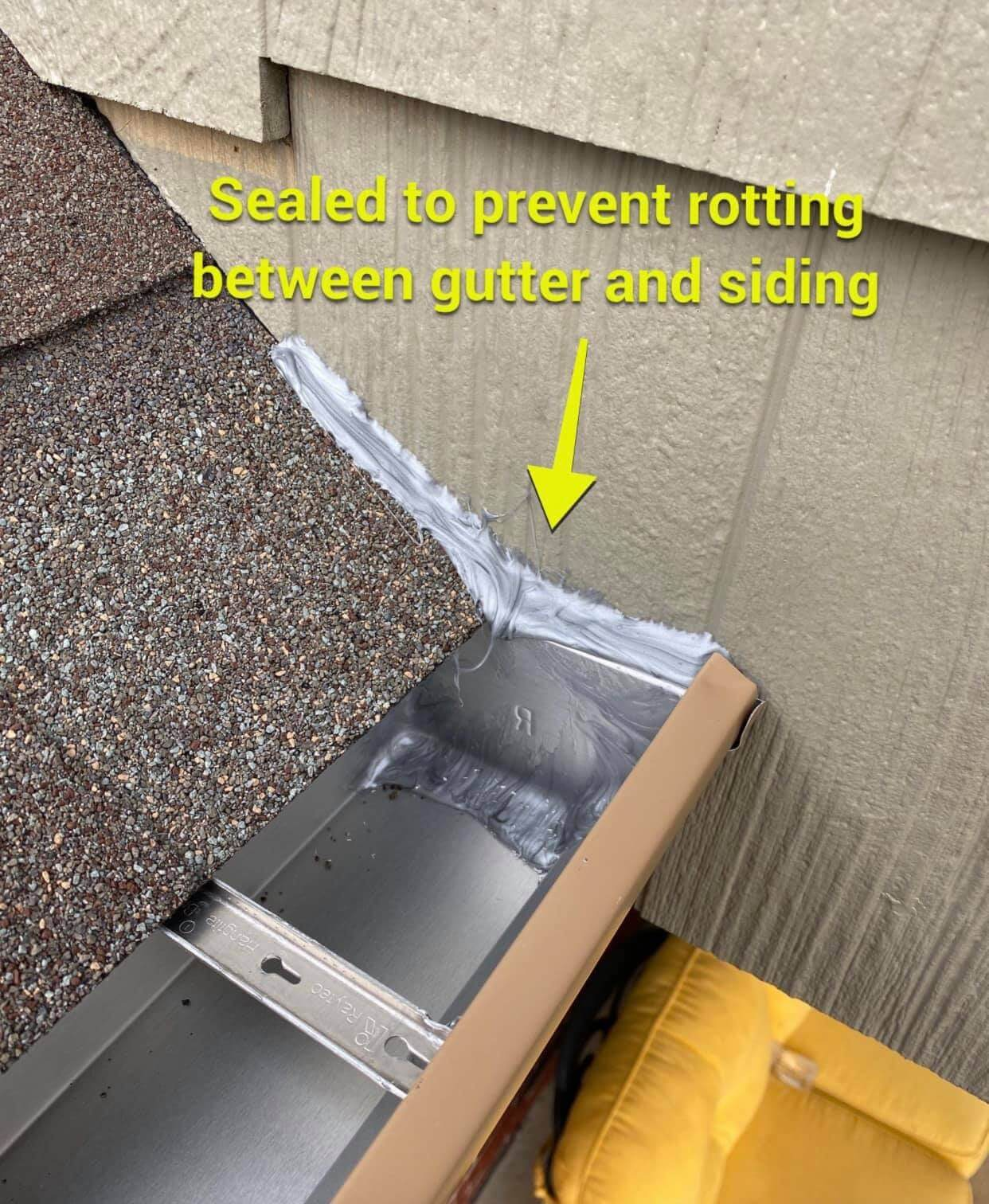 gutter sealant, showing how to prevent the siding on your home from rotting